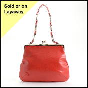 Burberry Red Lizard Embossed Kisslock Purse
