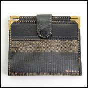 Fendi Vintage Pequin Striped Coated Canvas Card Wallet