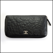Chanel Black Leather Camellia Long Zip Wallet