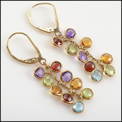 Effy 14K Gold Multicolor Gemstone Cluster Dangle Earrings