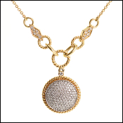 Effy 14K Gold Diamond Disc Pendant Necklace