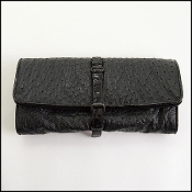 Bottega Veneta Black Ostrich/Shiny Crocodile Trim Clutch