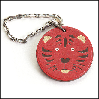 Hermes Red Tiger Leather Purse Charm