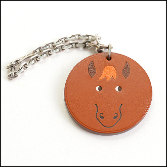 Hermes Brown Horse Leather Purse Charm