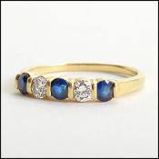 Tiffany & Co. 18K Gold Diamond/Sapphire Band Ring