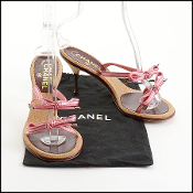 Chanel Pink Ribbon Bow Slingback Heels Size 39