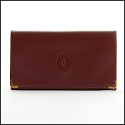 Cartier Vintage Burgundy Leather French Wallet