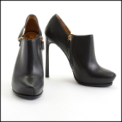 Lanvin Black Leather High Heel Booties Size 39.5