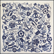 Chanel Ivory/Navy L'Heritage Gabrielle Silk Scarf