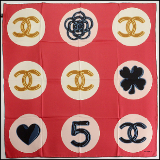 Chanel Red/Ivory/Navy Lucky Charms Silk Scarf
