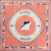 Chanel Coral Pink/Ivory/Multicolor Cruise Silk Scarf