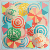 Chanel Multicolor Beach Ball/Umbrella Silk Scarf