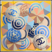 Chanel Blue/Yellow/Taupe Beach Ball/Umbrella Silk Scarf