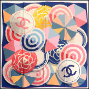 Chanel Navy/Pink/Multicolor Beach Ball/Umbrella Silk Scarf