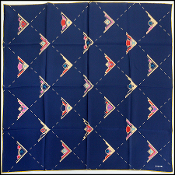 Chanel Navy/Multicolor Art Deco Design Silk Scarf