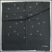 Chanel Dark Gray Silver Stamped Logo Wool Scarf Wrap