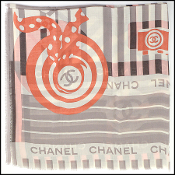 Chanel Taupe/Ivory/Peach Cashmere/Silk Scarf Wrap