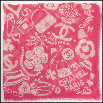 Chanel Hot Pink/Ivory Classic Mementos Cashmere/Silk Scarf Wrap