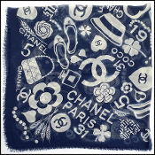 Chanel Navy/Ivory Classic Mementos Cashmere/Silk Scarf Wrap
