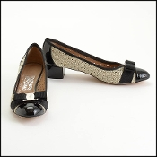 Ferragamo Black/Ivory Perforated Leather Bow Pumps Size 8.5