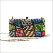 Romero Britto Multicolor Crystal Clutch w/Chain Strap