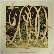 Salvatore Ferragamo 2000 Ivory/Black Birds Silk Scarf