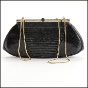 Judith Leiber Vintage Black Karung Evening Bag w/Strap