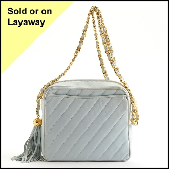 Chanel Light Blue Medium Square Diagonal Quilted Camera Bag
