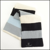 Marc by Marc Jacobs Blue/Black/Grey Stripe Angora Wool Scarf