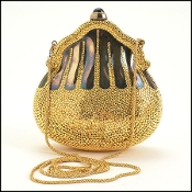 Judith Leiber Gold Crystal Minaudiere Chatelaine Evening Bag