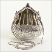 Judith Leiber Silver Crystal Minaudiere Chatelaine Evening Bag