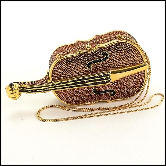 Judith Leiber Bronze Crystal Minaudiere Violin/Cello Evening Bag