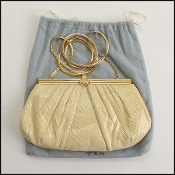 Judith Leiber Cream Python Rose Quartz Clasp Evening Bag