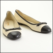 Chanel Ivory/Black Leather Bow Ballet Flats Size 42