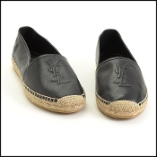Saint Laurent Black Nappa Leather Nero Espadrilles Size 42