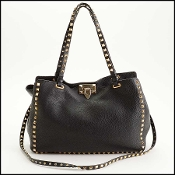 Valentino Black Leather Medium Rockstud Trapeze Tote Bag
