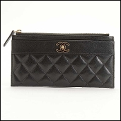Chanel Black Quilted Leather Flat Wallet