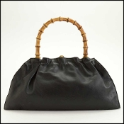 Gucci Black Leather Bamboo Handle Tom Ford Era Handbag