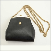 "By Paloma Picasso Black Leather Chain Strap ""X"" Bag"