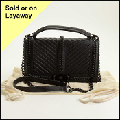 Rebecca Minkoff Black Leather Chain Strap Love Crossbody Bag